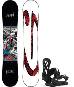 GNU Asym Carbon Credit Snowboard w/ Union Contact Pro Bindings