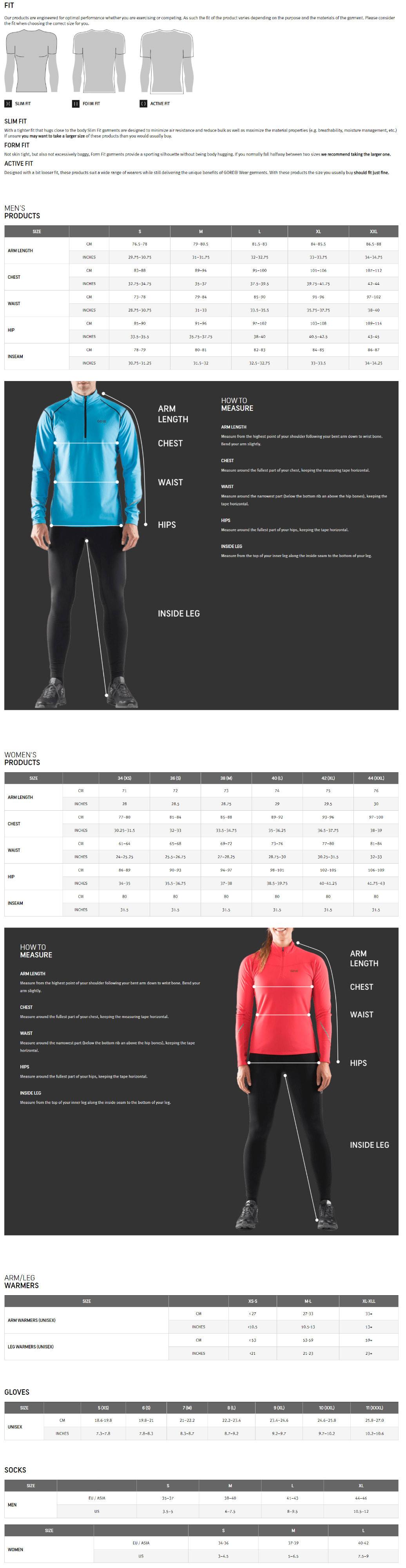 Gore Wear Size Charts