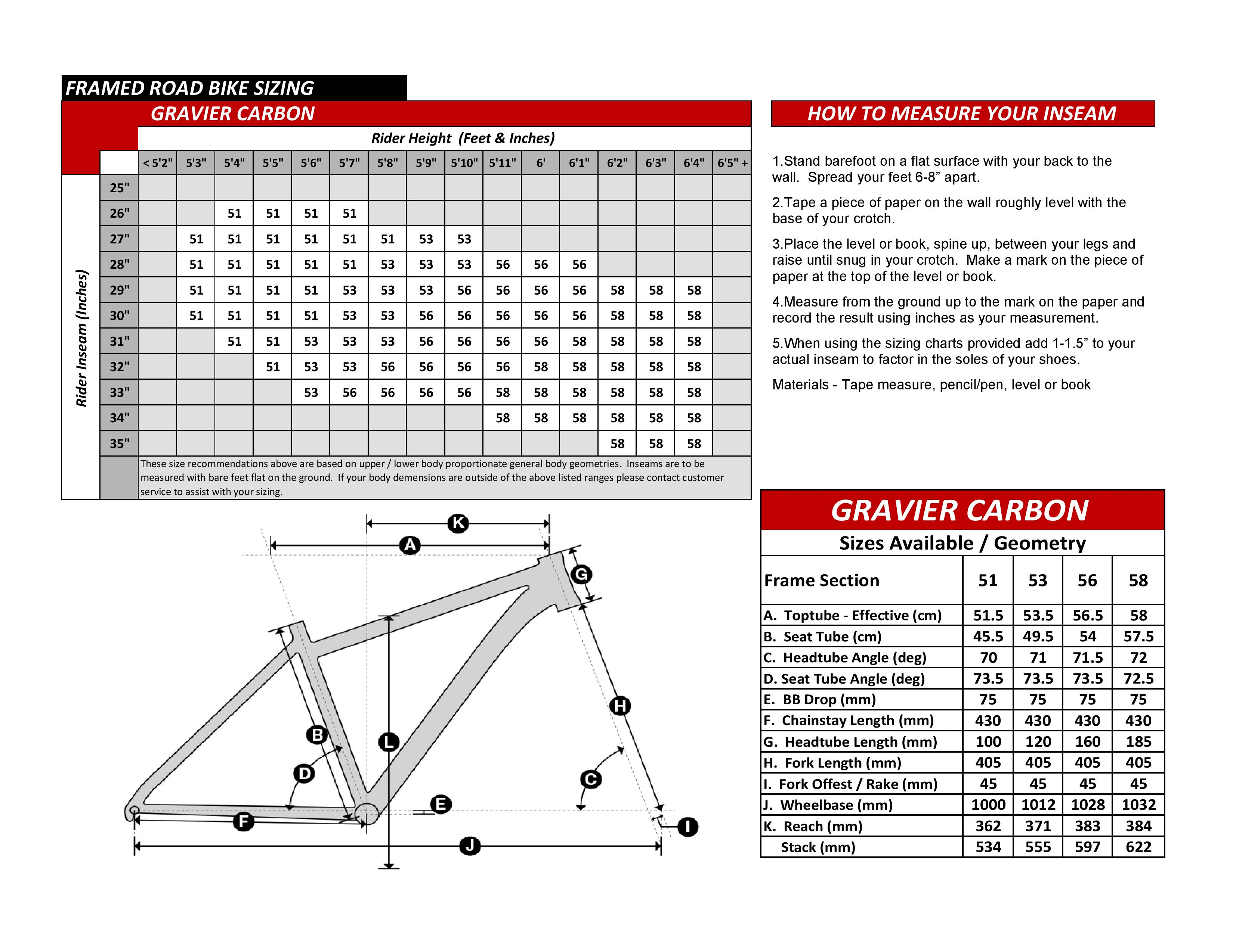 Gravier Carbon Bike Geometry Specs