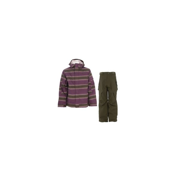Burton Cosmic Delight Jacket Mocha Faded Stripe Print W / Sessions Zoom Pants Fatigue Green U.S.A. & Canada