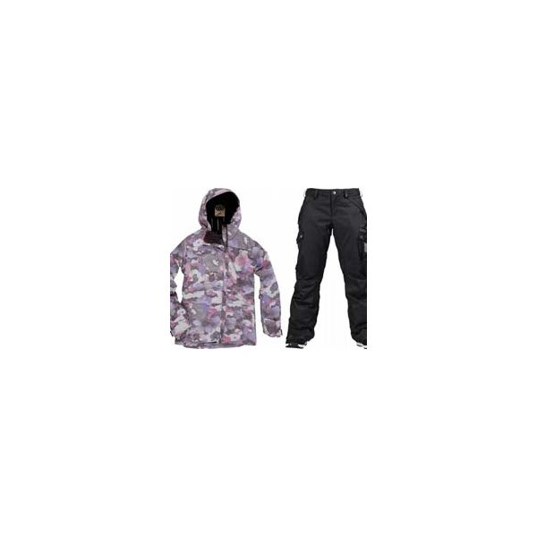 686 Acc Empire Insulated Jacket Orchid Print W / Burton Fly Pants True Black / Dobby U.S.A. & Canada