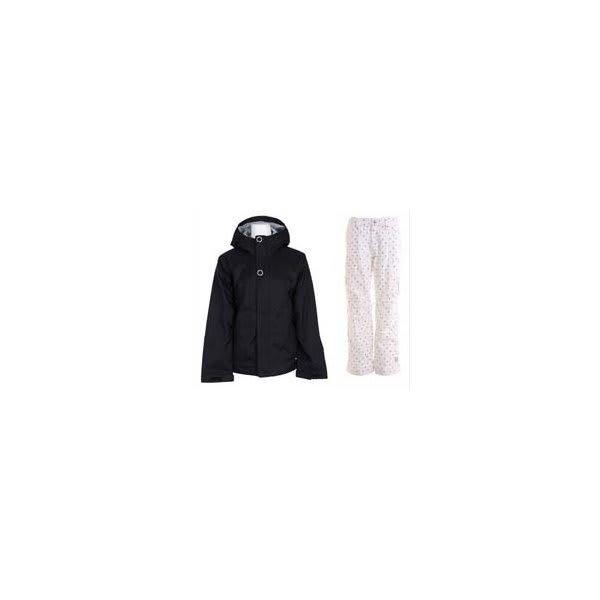 Bonfire Rainier Jacket Black W / Burton Lucky Snowboard Pant Multi Polka Squares U.S.A. & Canada