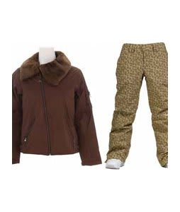Burton B By Burton Roosevelt Bomber Jacket Roasted Brown w/ Burton Society Pants Doodle Print Capers