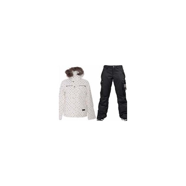 Burton Lush Jacket Multi Polka Squares Print W / Burton Fly Pants True Black / Dobby U.S.A. & Canada