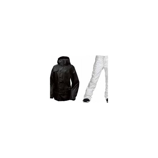 Burton After Hours Jacket True Black W / Burton Twc Flared Pants Bright White Dot Print U.S.A. & Canada