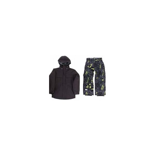Ride Hemi Youth Jacket Black W / Ride Charger Youth Snow Pants Ruckus Print Lime U.S.A. & Canada