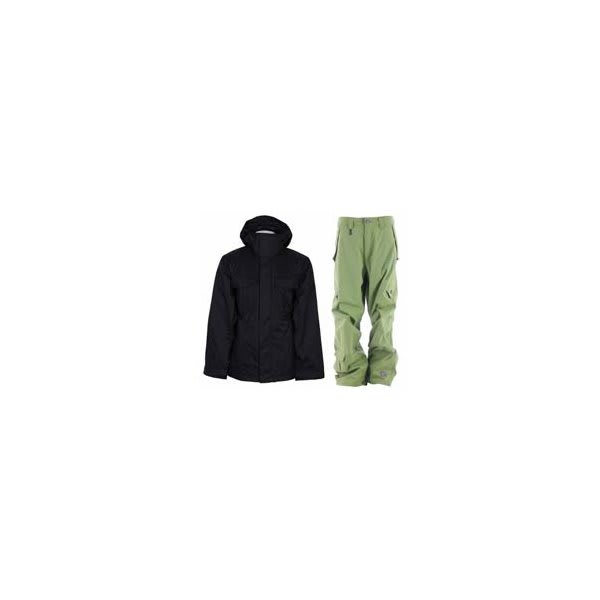 Bonfire Rainier Jacket Black W / Sessions Achilles Pants Lime U.S.A. & Canada