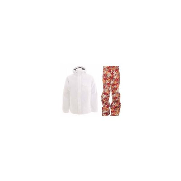 Burton Bad Moon Rising Jacket Bright White W / Foursquare Wong Pants Fall Leaves U.S.A. & Canada