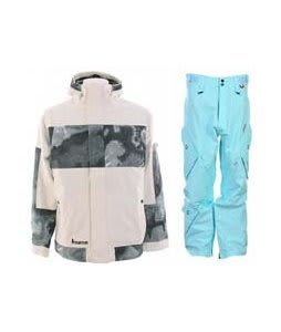 Burton Cosmic Delight Jacket Bright White w/ Foursquare Q Pants Keep Cool