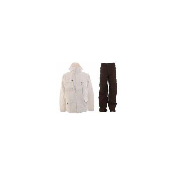 Burton Esquire Jacket Bright White W / Burton Ronin Cargo Pants Mocha U.S.A. & Canada