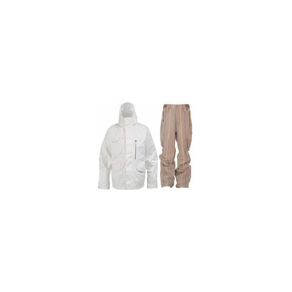Burton Esquire Jacket Bright White W / Foursquare Boswell Pants Tan A Poppin U.S.A. & Canada