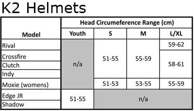 K2 Size Chart
