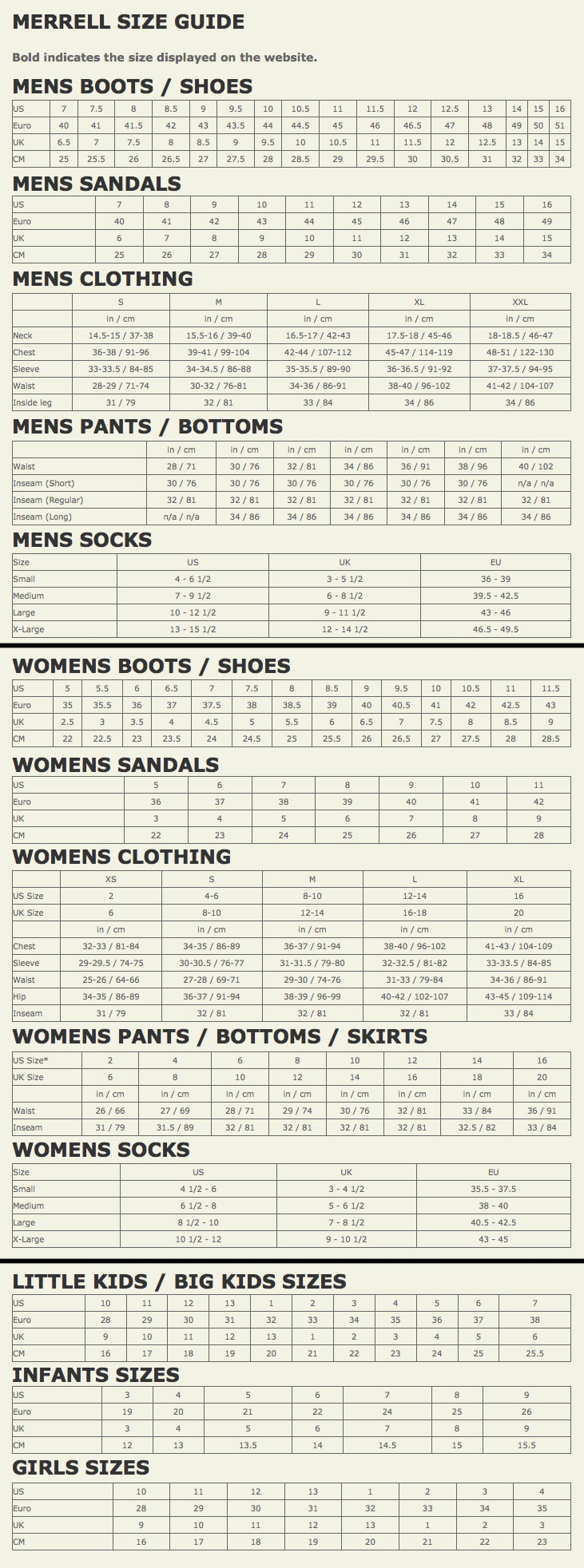 Merrell Size Chart