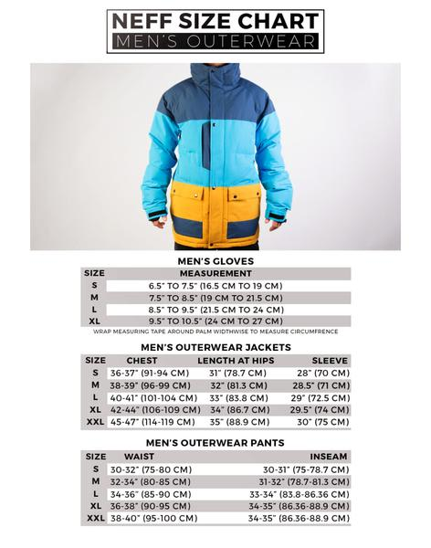 Neff Men's Outerwear Size Chart