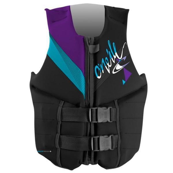 O' Neill Reactor 3 Uscg Wakeboard Vest Black / Turquoise / Uv U.S.A. & Canada