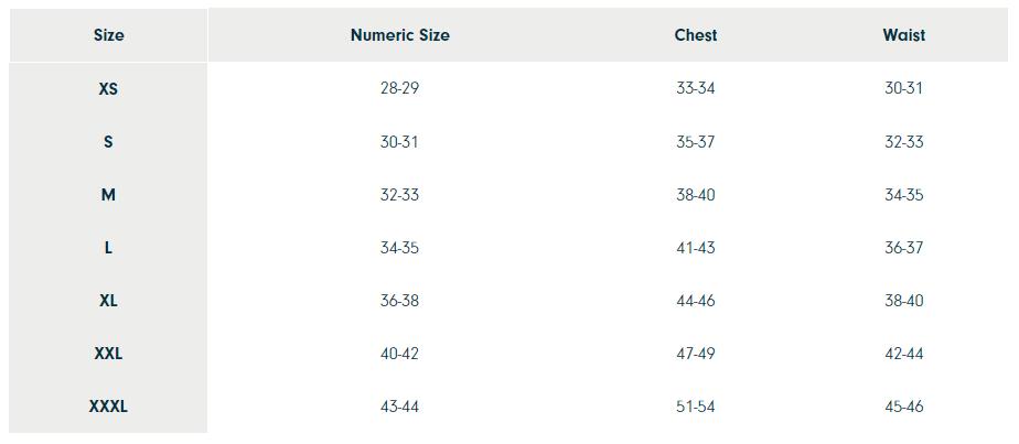 Prana Men's Size Chart