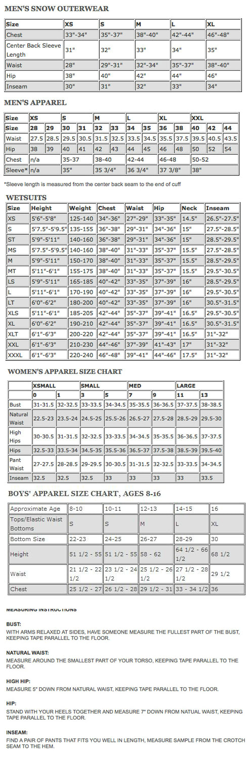 Quiksilver Size Chart