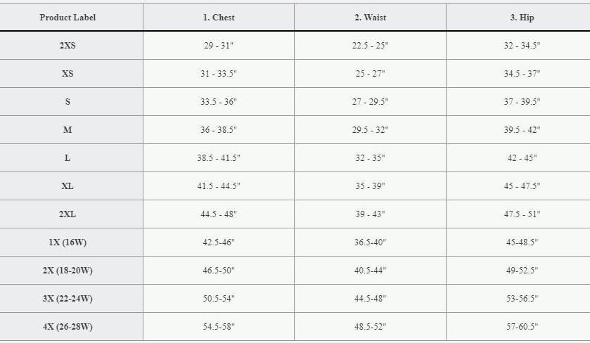Reebok Women's Size Chart