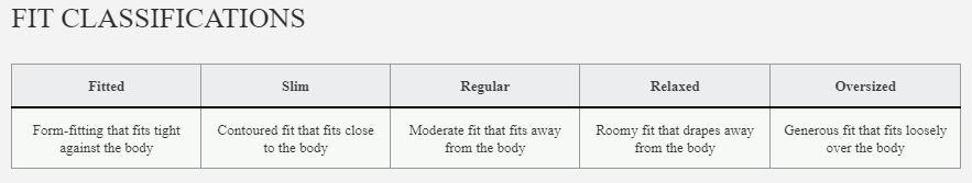 Reebok Women's Fit Size Chart