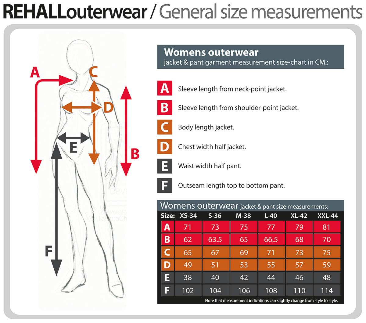 Rehall Women's Size Chart