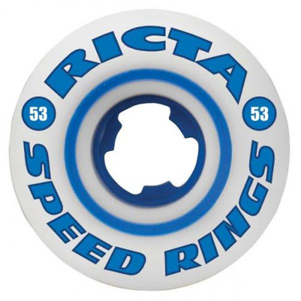 Ricta Speedrings 81B Skateboard Wheels White / Blue 53Mm U.S.A. & Canada