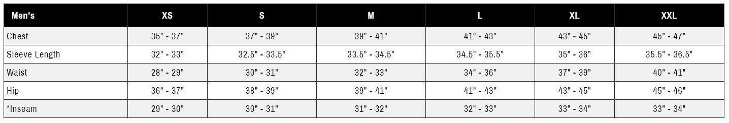 Ride Outerwear Men's Size Chart