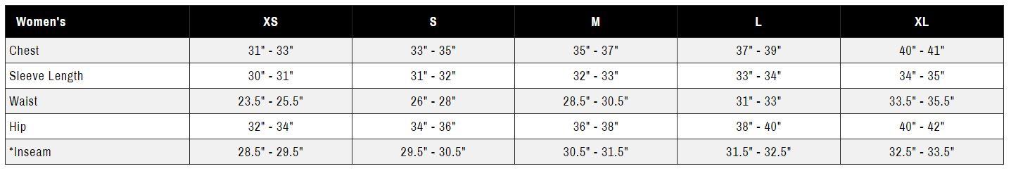 Ride Outerwear Women's Size Chart