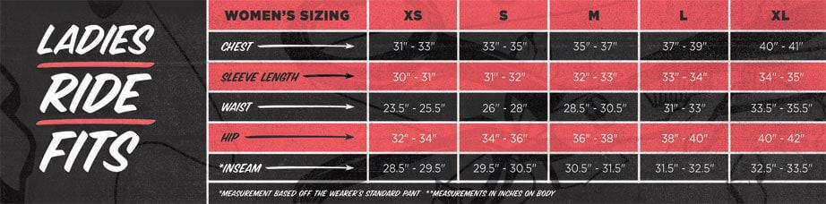 Cappel Women's Size Chart