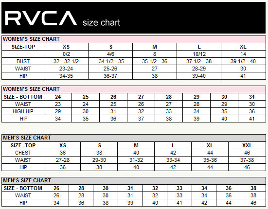 RVCA Size Chart