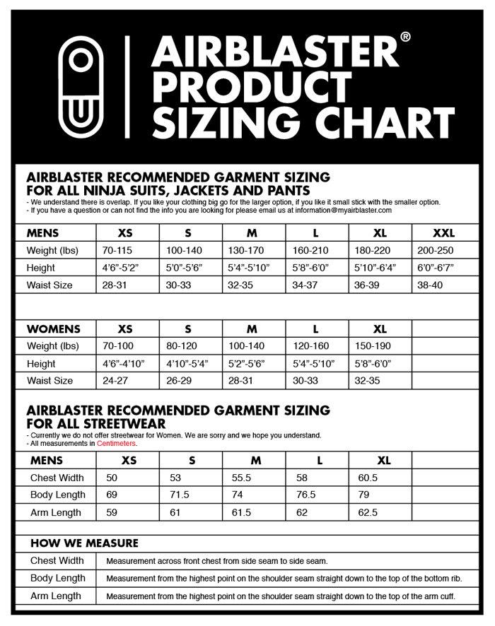 Airblaster Sizing Chart