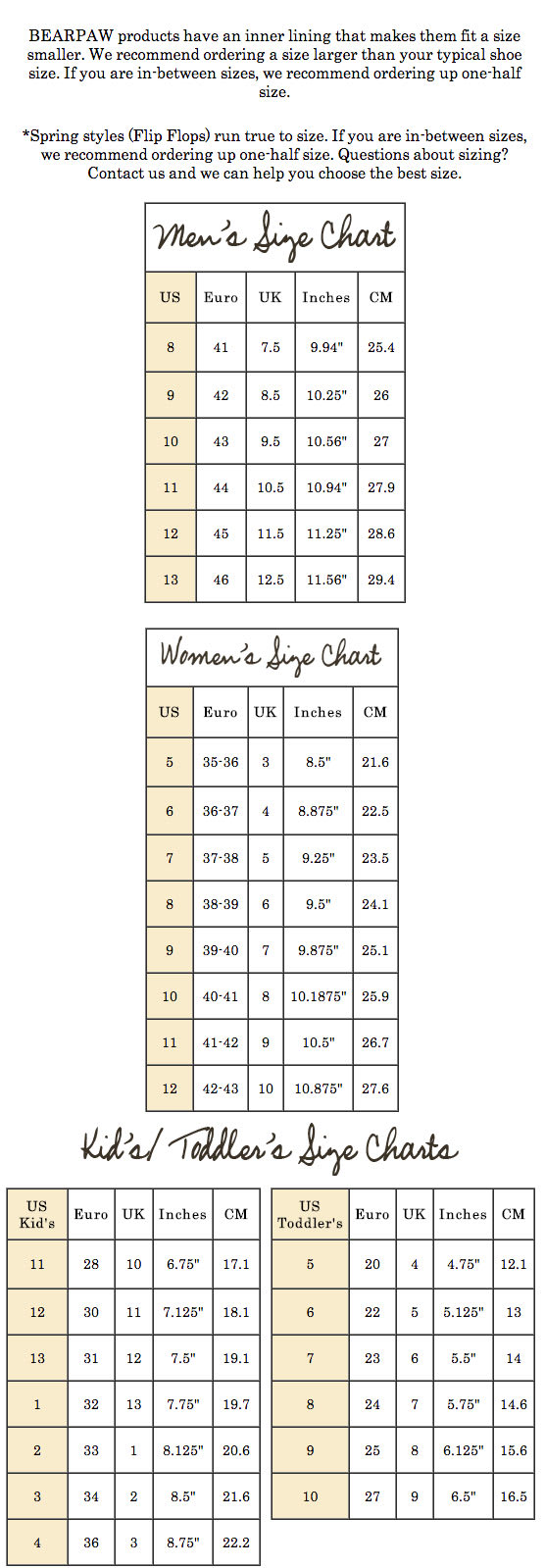 White Sierra Size Chart