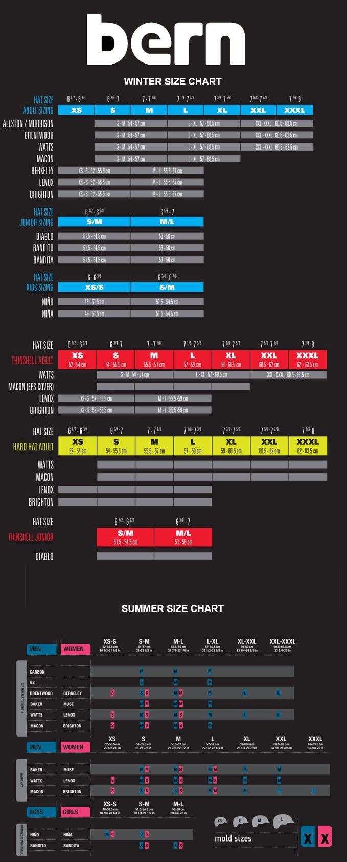 Bern Sizing Chart