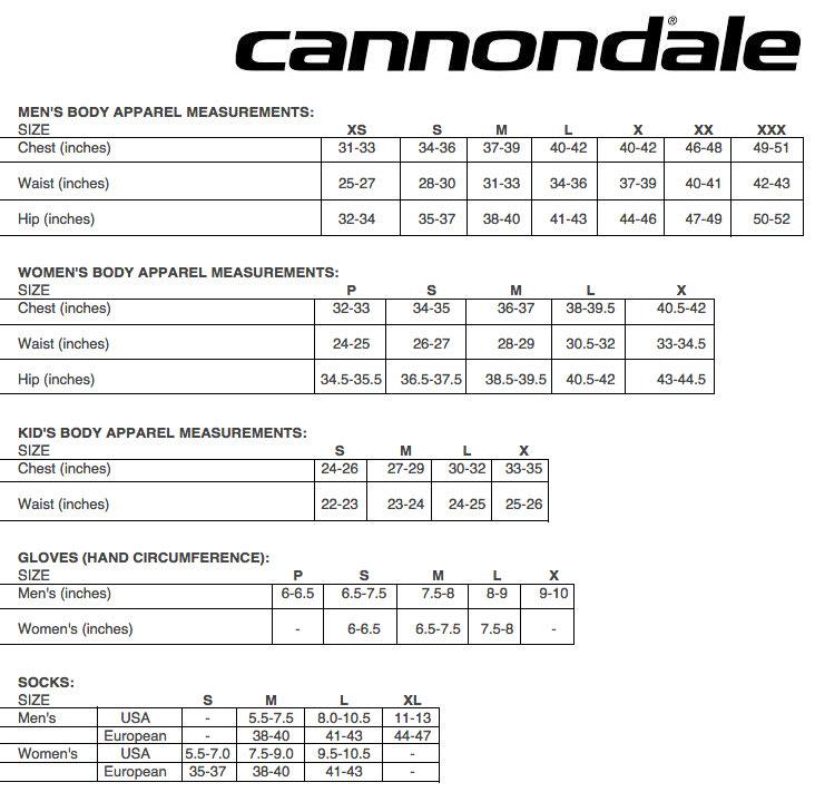 Cannondale Sizing Chart