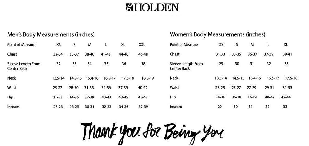 Holden Sizing Chart