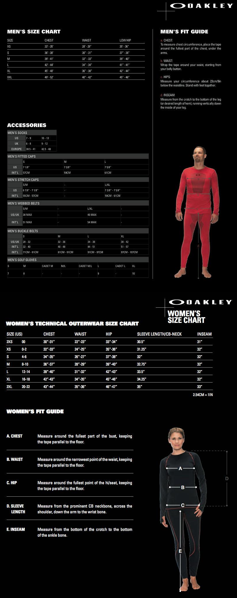 Oakley Size Charts