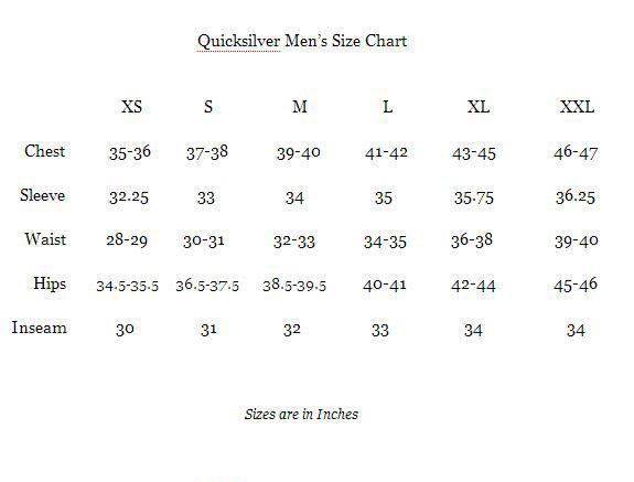 Quiksilver Size Chart