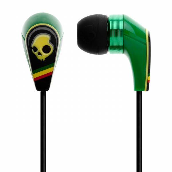 Skullcandy 50 / 50 W / Mic 3 Ear Buds Rasta Discontinued Model U.S.A. & Canada