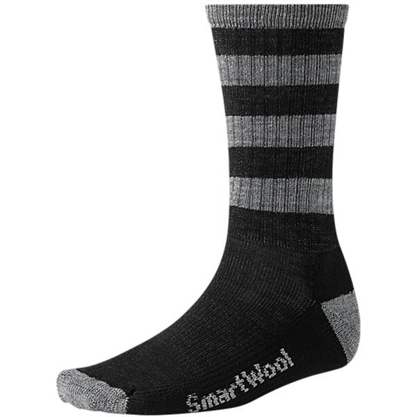 Smartwool Striped Hike Light Crew Socks Black / Medium Gray U.S.A. & Canada