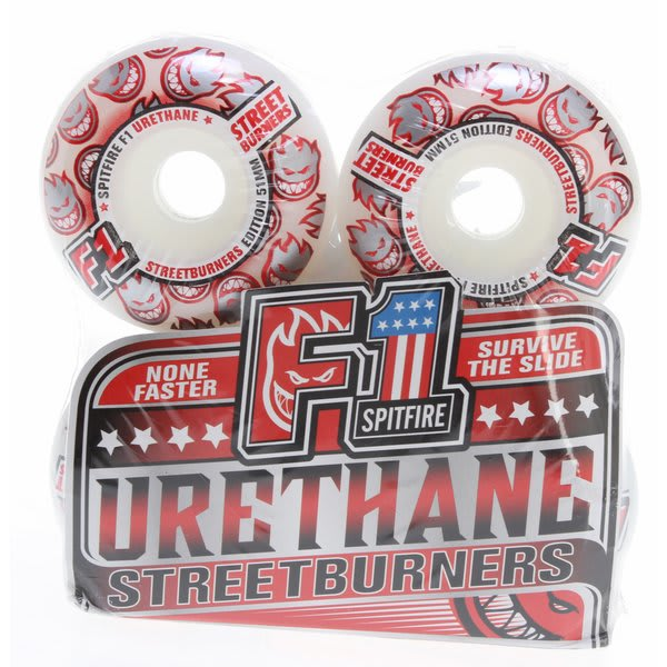 Spitfire F1 Urethane Streetburners Skateboard Wheels White / Red 51Mm U.S.A. & Canada