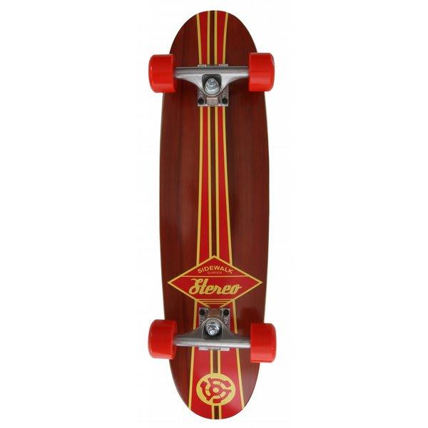 Stereo Sidewalk Surfer Longboard Skateboard Complete Red / Wood U.S.A. & Canada