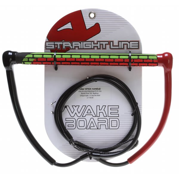 Straight Line Ugly Stick Wakeboard Handle Green / Red U.S.A. & Canada