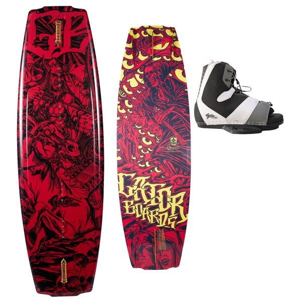 Gator Boards Legend Wakeboard W / Gator Boards Gonzalez Ltd Bindings Black / Gold U.S.A. & Canada