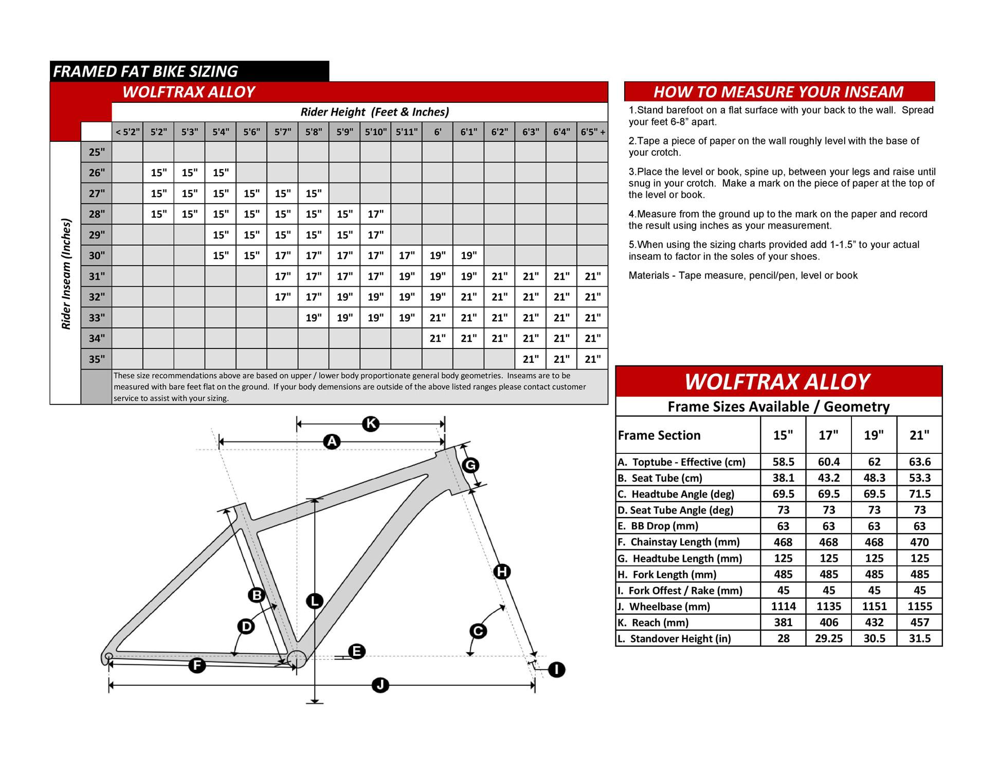 Wolftrax Alloy Fat Bike Geometry Specs